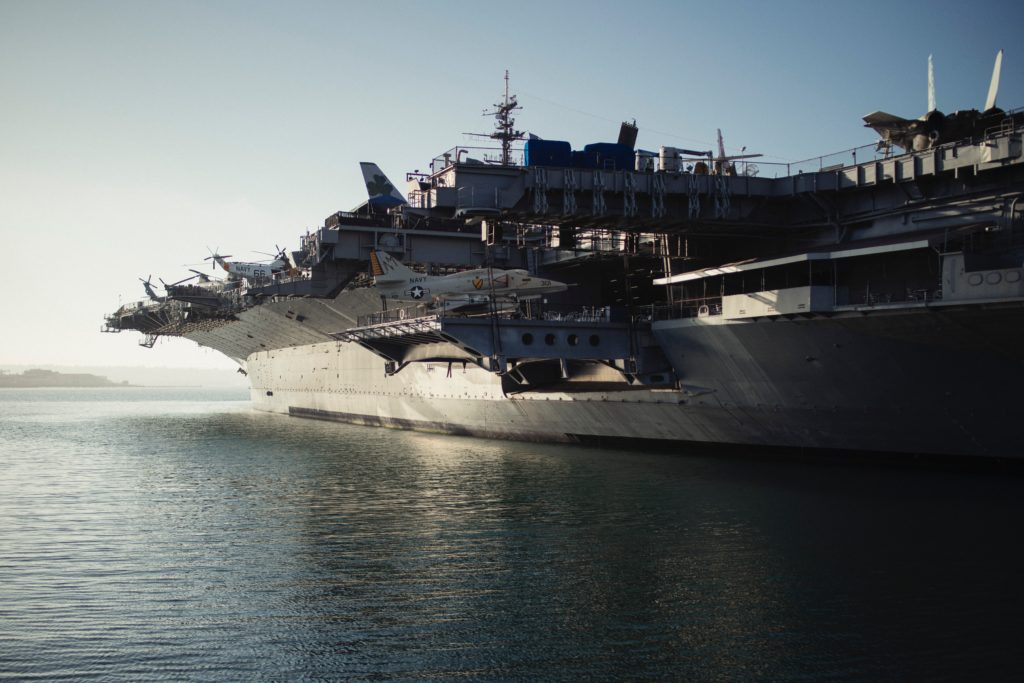 Docked naval warship