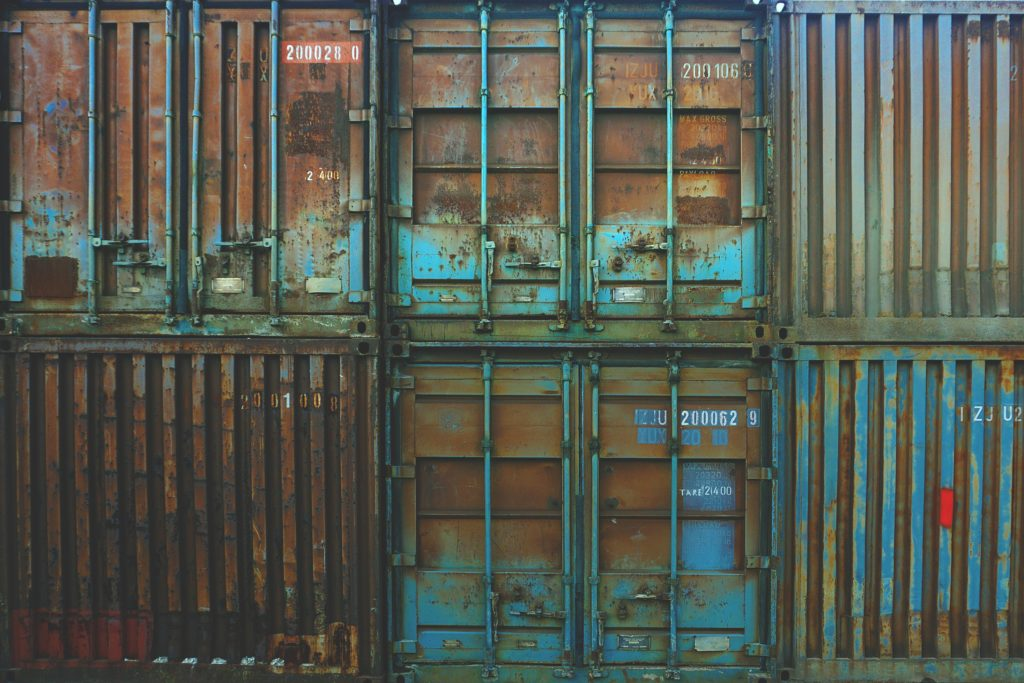 rusting shipping containers