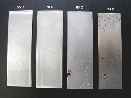 Examples of the effect temperature has on pitting corrosion